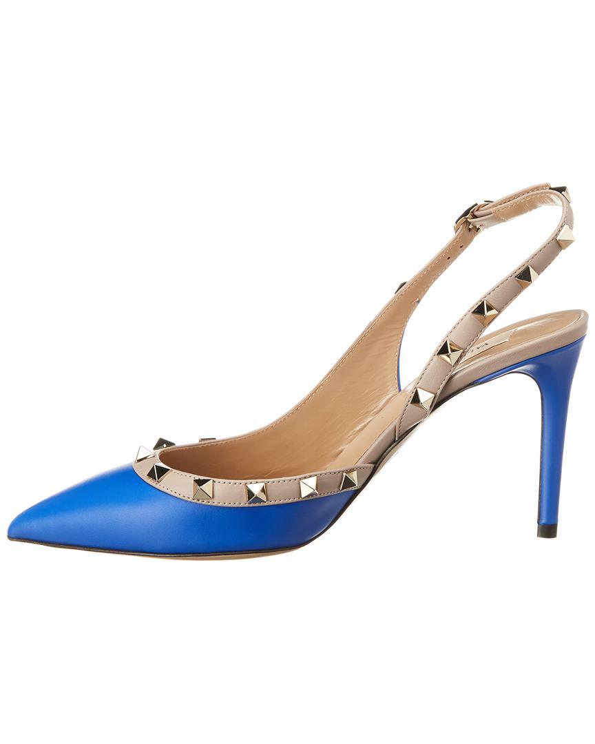 e7e02ffa503 Lyst - Valentino Rockstud Slingback Leather Pump in Blue