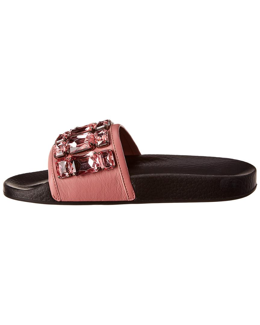 c82b1a204b4 Gucci Leather Slide in Pink - Lyst