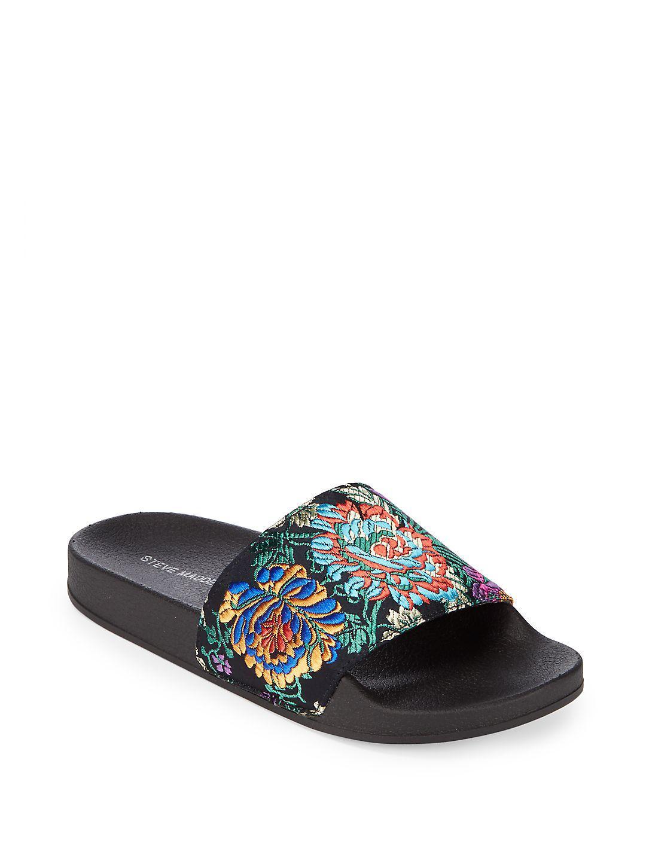 67c8750907b Lyst - Steve Madden Soriel Embroidered Slide Sandals in Black