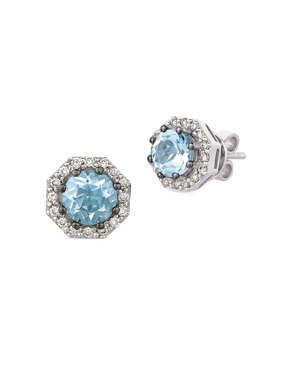 aquamarine marine diamond gallery gold white earrings le vian lyst stud swirl aqua and jewelry blue chocolate