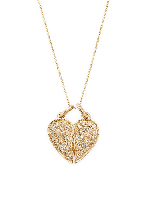 Sydney Evan 14k Double Heart Pendant Necklace cYxVnaAc5