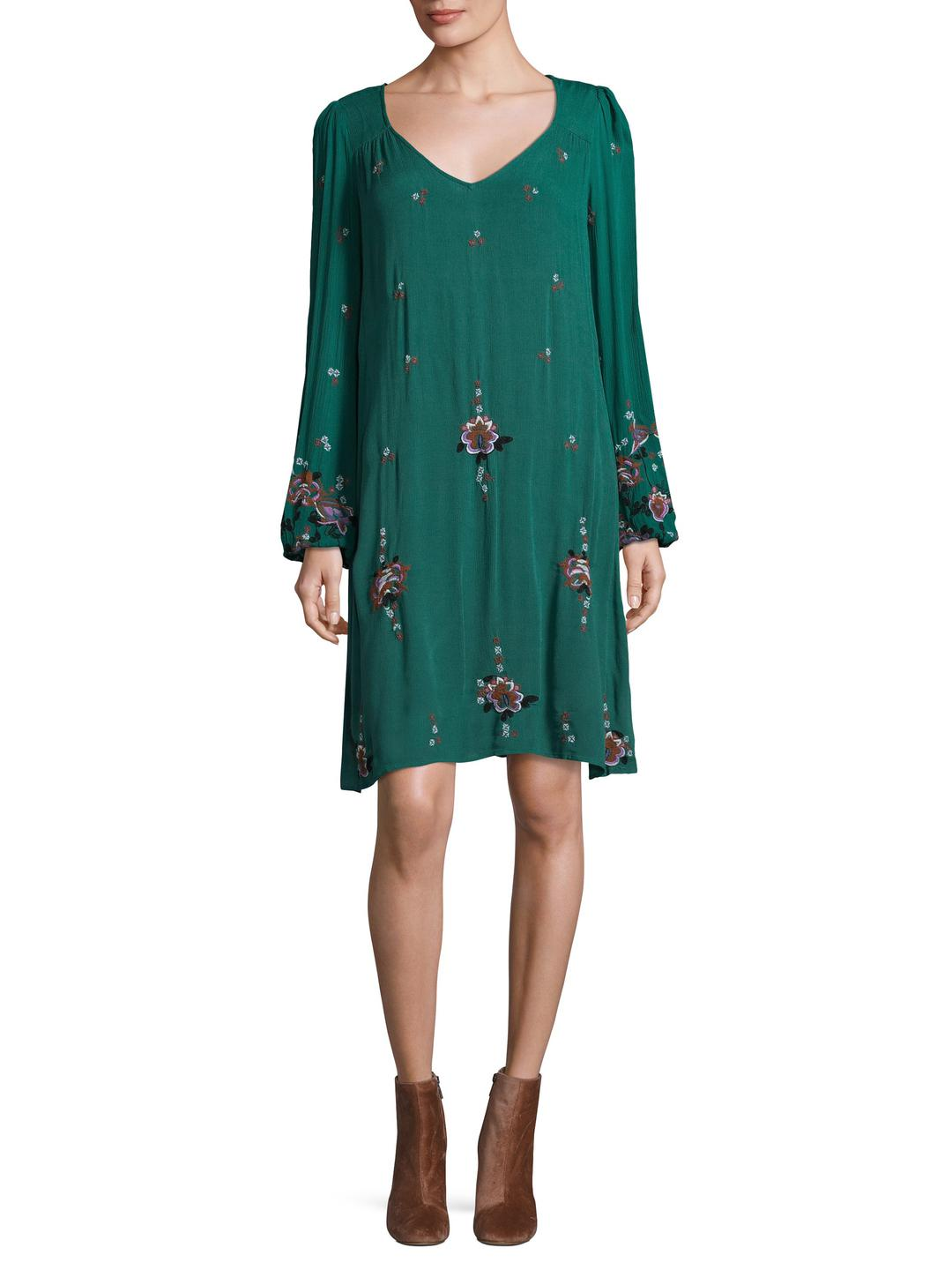 3e43521031 Lyst - Free People Oxford Embroidered Mini in Green