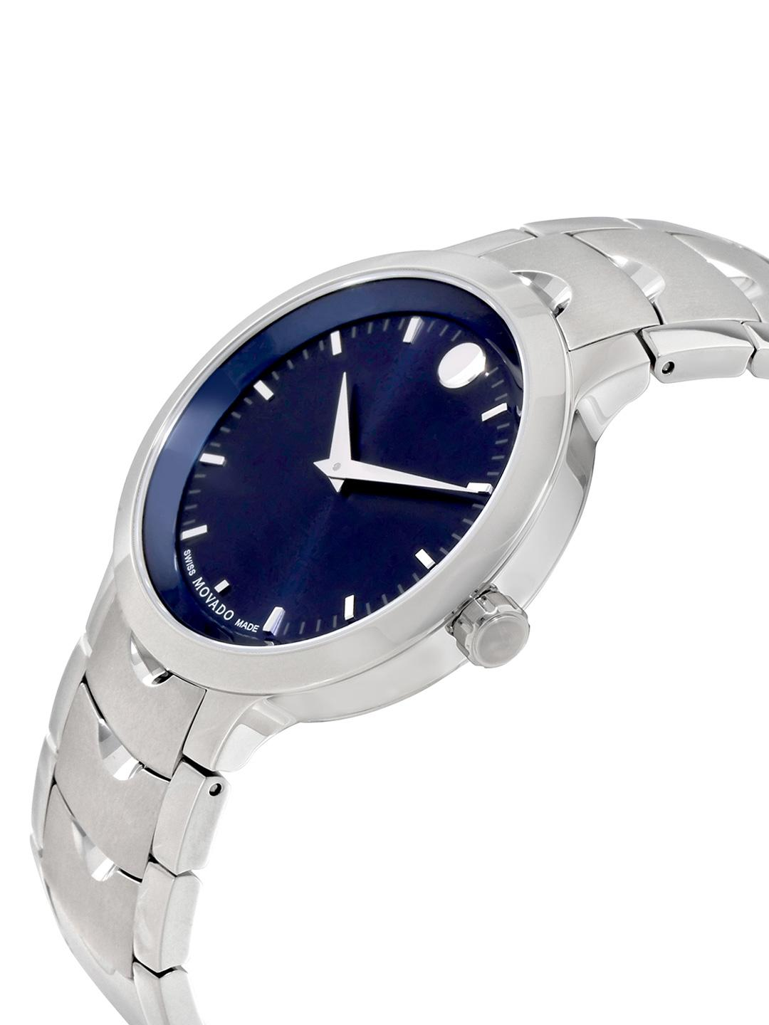 dial soleil luno watch blue movado watches men s