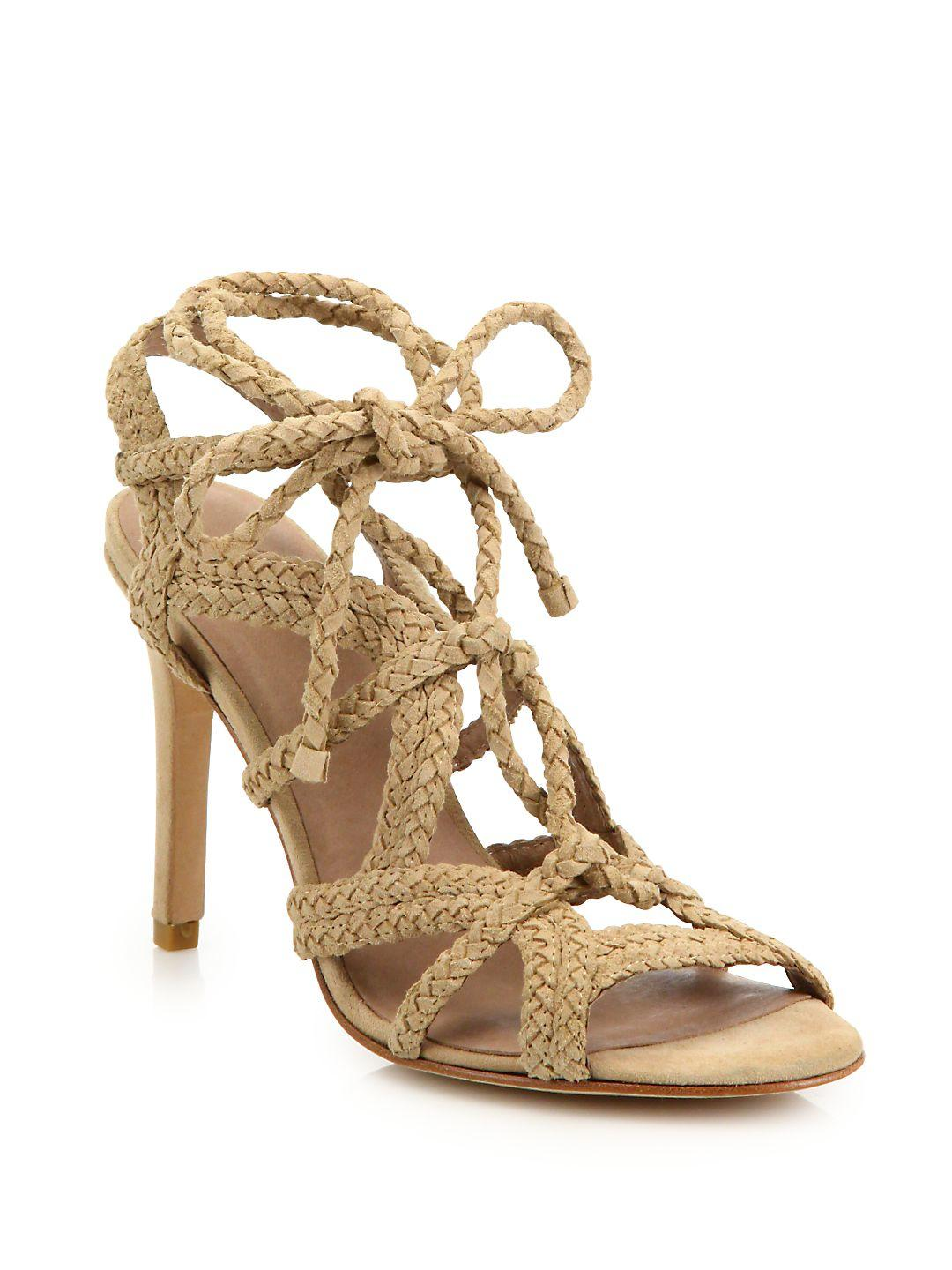 8c2d5b91630f Lyst - Joie Tonni Braided Suede Lace-up Sandals in Metallic