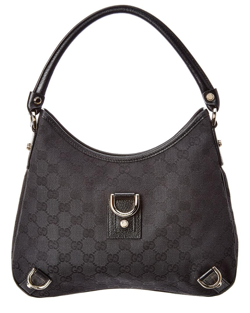 6e2647ae4354 Gucci Black GG Canvas   Leather Abbey Hobo Bag in Black - Lyst