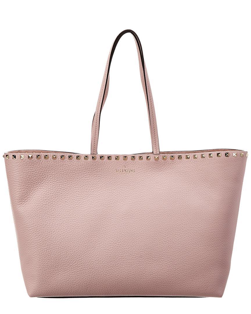 3cf0c031e80ce Lyst - Valentino Rockstud Vitello Leather Tote in Pink - Save ...