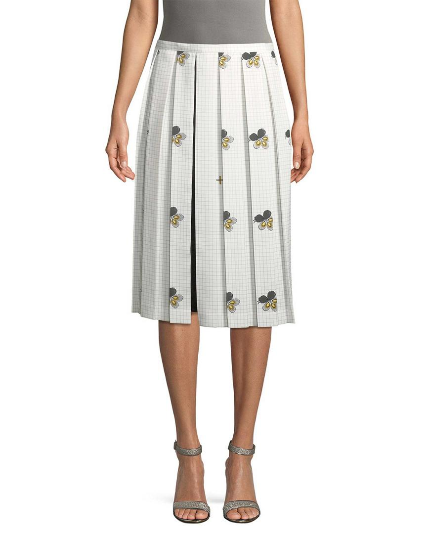 70f0f252fa Lyst - Victoria Beckham Grid And Floral Print Pleated Skirt - Save 20%