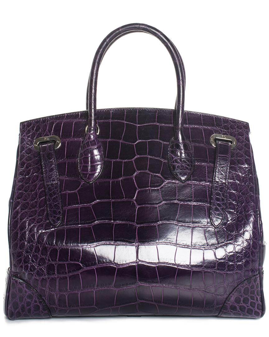 54e66ecfb4ab Lyst - Ralph Lauren Purple Crocodile Leather Ricky 33 Satchel in Purple