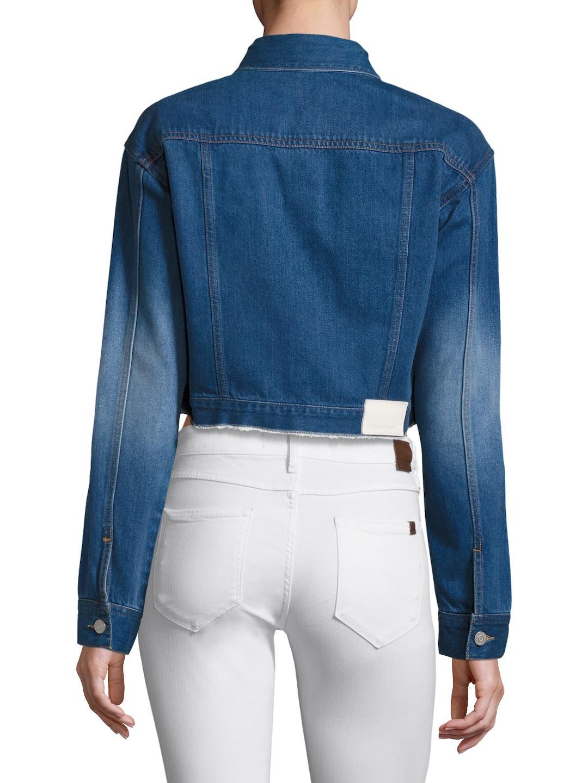 1de0c809cae4b Lyst - Ei8ht Dreams Shrunken Rider Cropped Denim Jacket in Blue