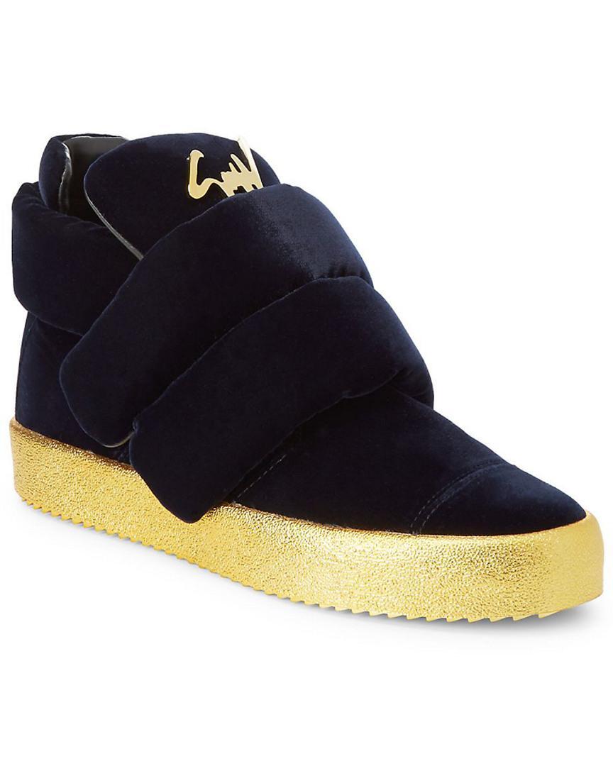 46cfddf2ded Lyst - Giuseppe Zanotti Logo Puffy Velvet Sneaker in Blue for Men