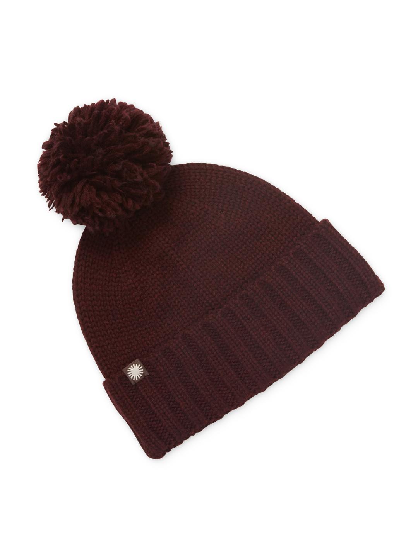 db6a45cbe14 Lyst - UGG Wool Blend Ribbed Pom Pom Hat in Red