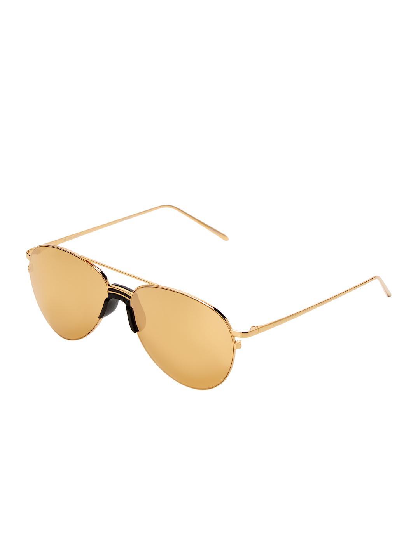 b9bb30ead8e Lyst - Linda Farrow 59mm Aviator Sunglasses in Metallic