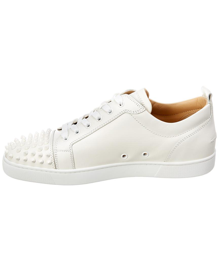 9d17a743d6f Christian Louboutin Louis Junior Spikes Leather Sneaker in White for Men -  Save 9% - Lyst