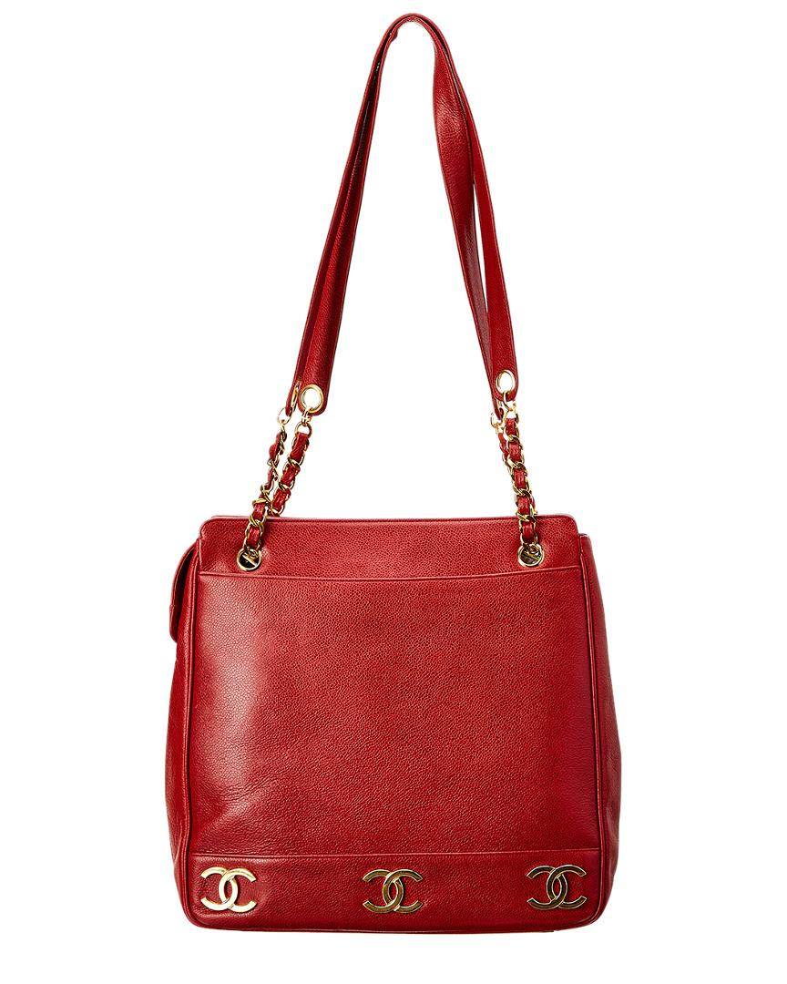 2438959b150c Lyst - Chanel Red Caviar Leather Medium 3cc Tote in Red