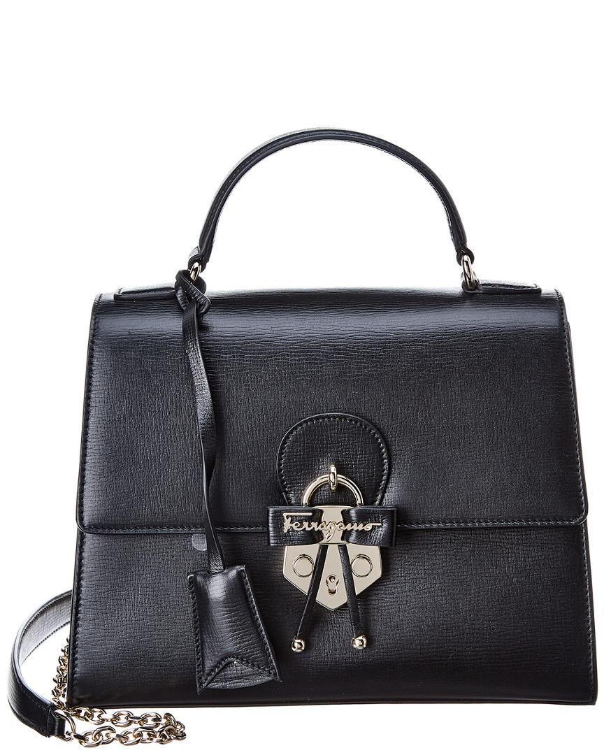 9a7af78a1b62 Lyst - Ferragamo Top Handle Leather Shoulder Bag in Black