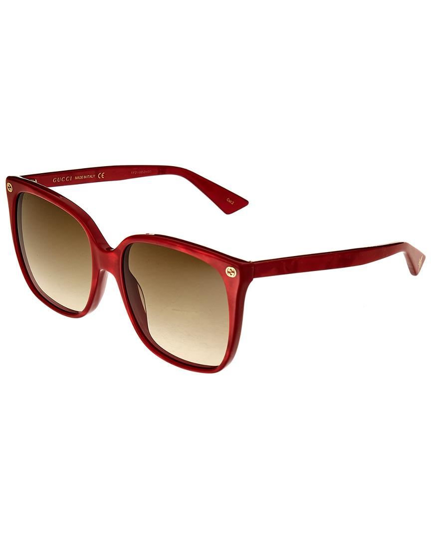 2337f581a3a Lyst - Gucci Square 57mm Sunglasses in Red