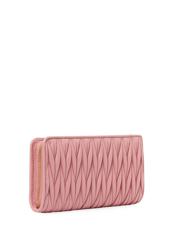Miu Miu Matelasse Glazed Leather Long Wallet