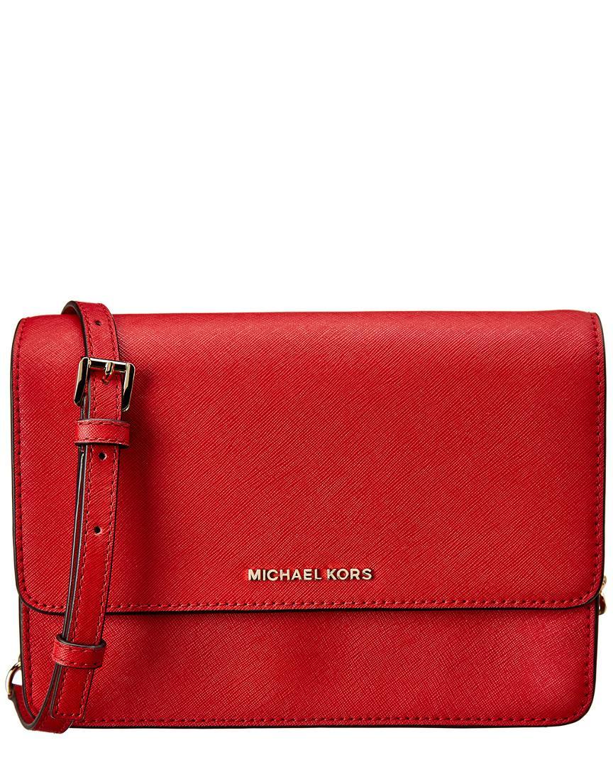 595d8d45c476 MICHAEL Michael Kors. Women s Red Daniela Large Gusset Leather Crossbody