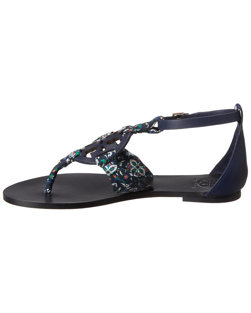 1c91eb70e Lyst - Tory Burch Miller Scarf Leather Sandal in Blue