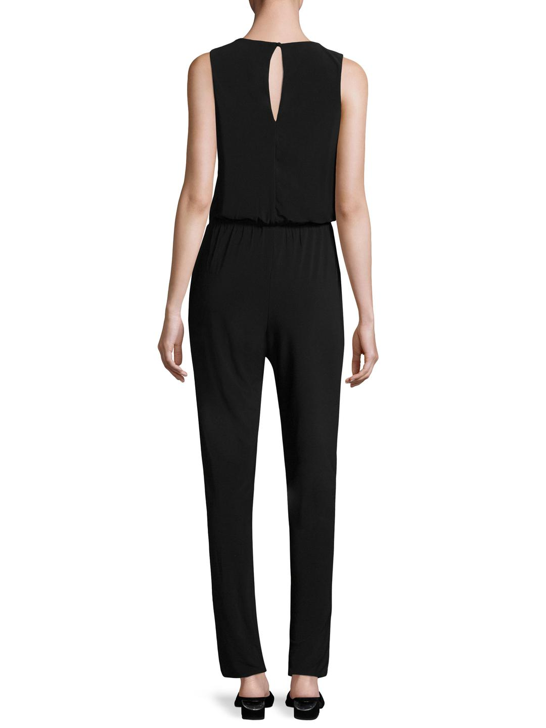 fe4d8fd249a Lyst - Laundry by Shelli Segal Lace Up Jersey Jumpsuit in Black
