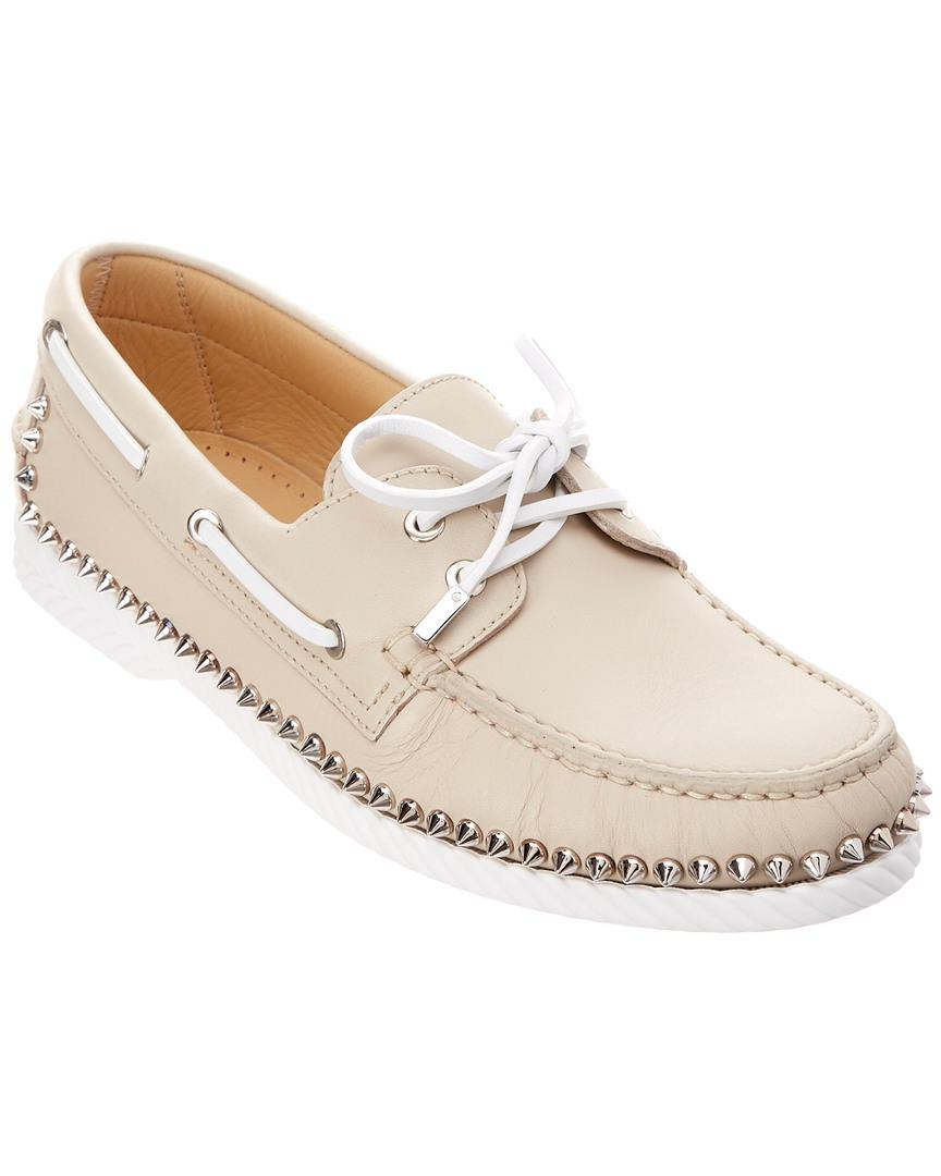 7437755bf12 Lyst - Christian Louboutin Steckel Leather Boat Shoe in Natural for ...