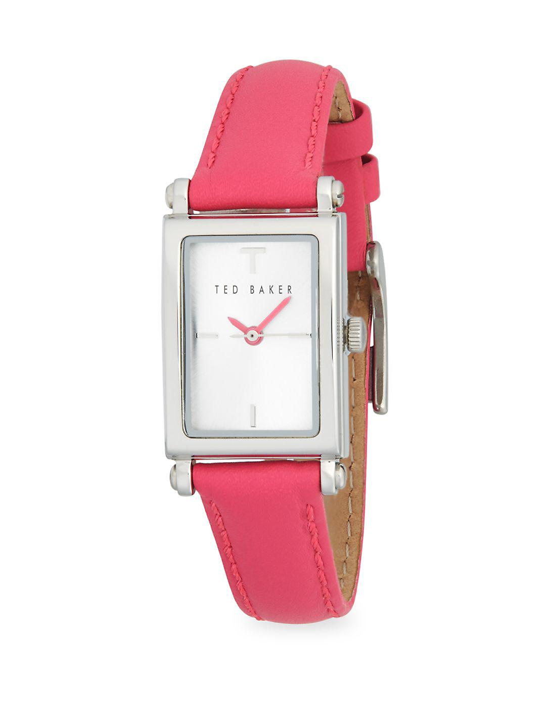 7a001e7b2 Ted Baker - Pink Stainless Steel And Leather Strap Three Hand Watch - Lyst