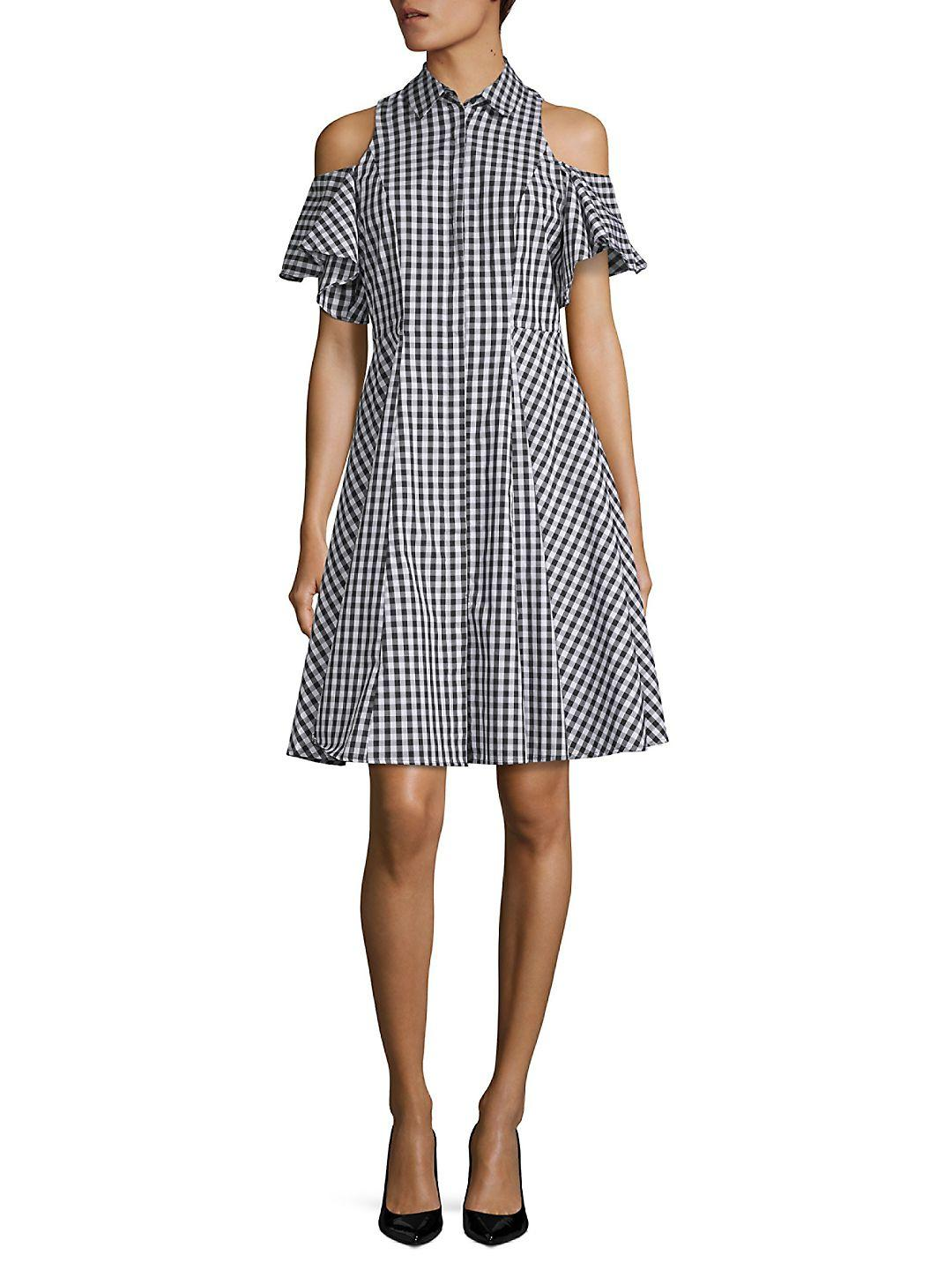 Lyst - Saks fifth avenue Cold-shoulder Gingham Shirtdress in Black