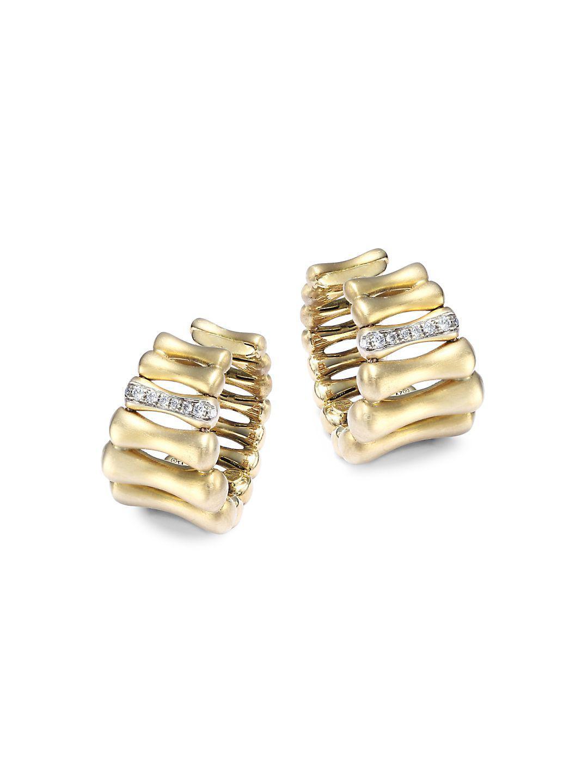 e8133475b5dda Lyst - Chimento Bamboo Over Diamond & 18k Yellow Gold Hoop Earrings ...