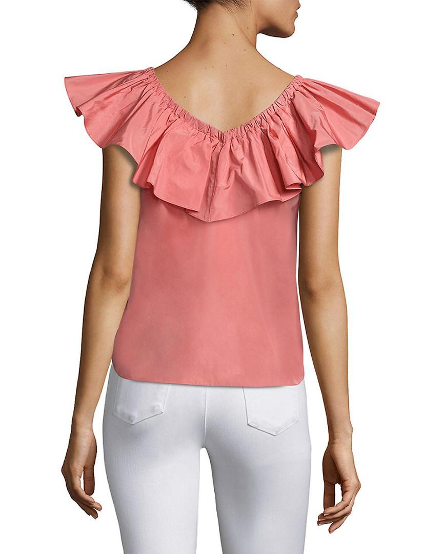 5c036054cb06ae Lyst - Rebecca Taylor Solid Off-the-shoulder Top in Pink - Save  78.54545454545455%