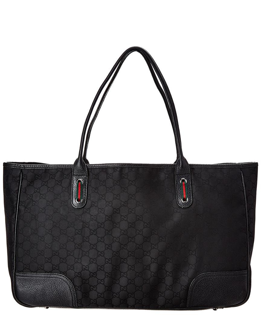 Gucci Black GG Canvas   Leather Tote in Black - Lyst 129a1f9296899