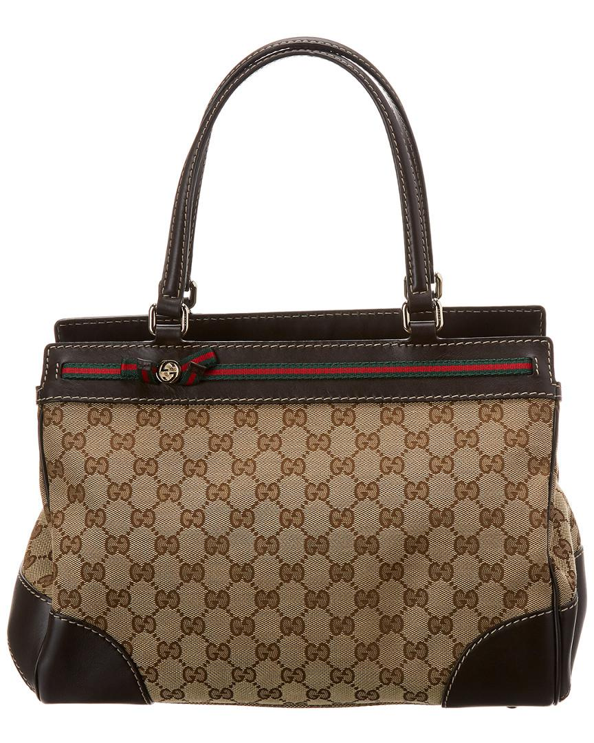 Gucci Women S Brown Gg Canvas Leather Mayfair Tote