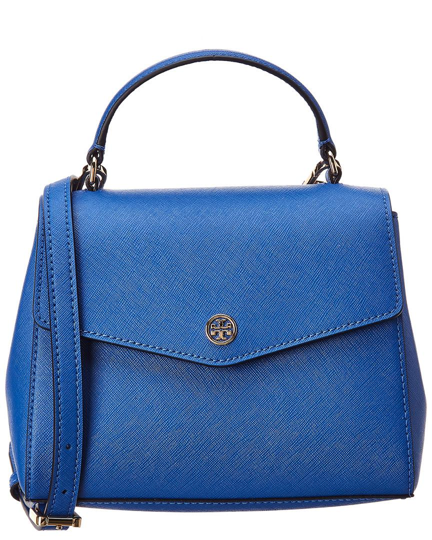 dcaa961d7b1e Lyst - Tory Burch Robinson Small Top Handle Leather Satchel in Blue