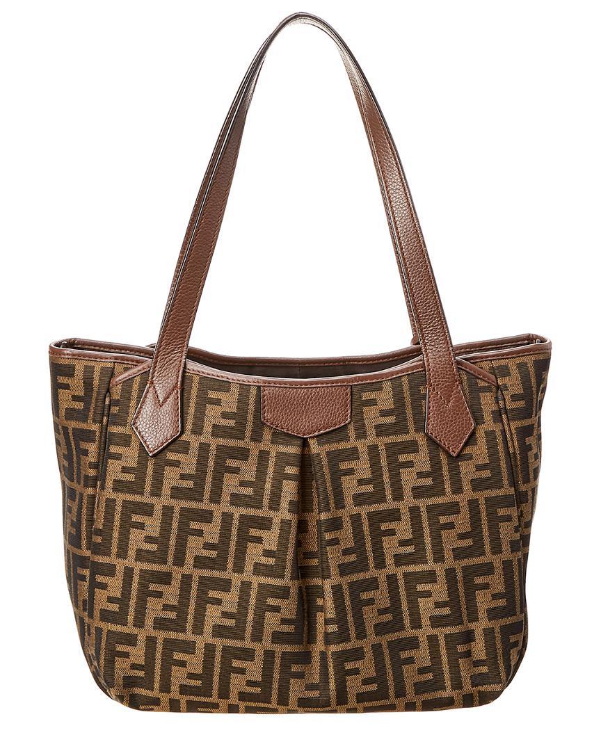 b0c71f322656 ... sale lyst fendi brown zucca canvas shoulder bag in brown ed90b 76432