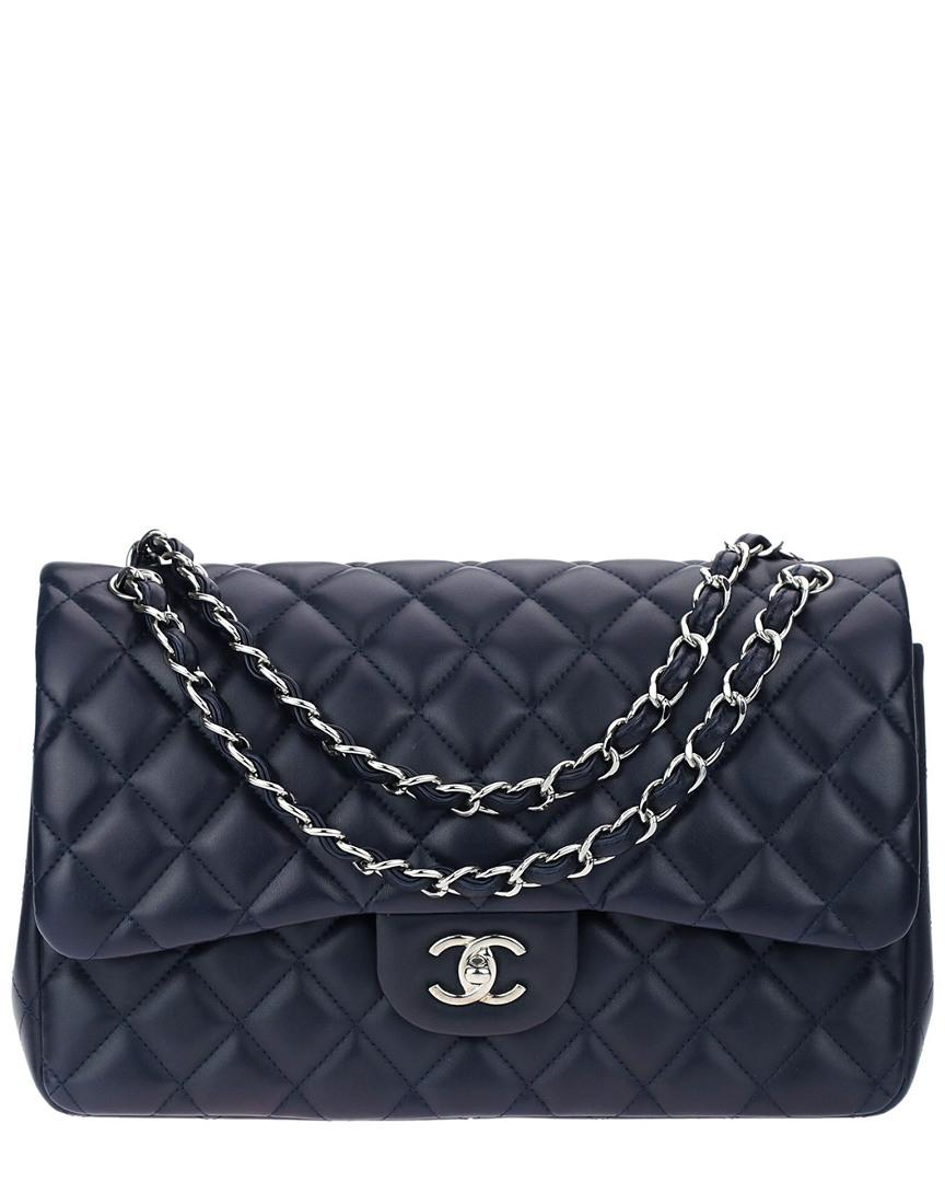 3ebff13f4beb Chanel Navy Blue Quilted Lambskin Leather Jumbo Double Flap Bag in ...