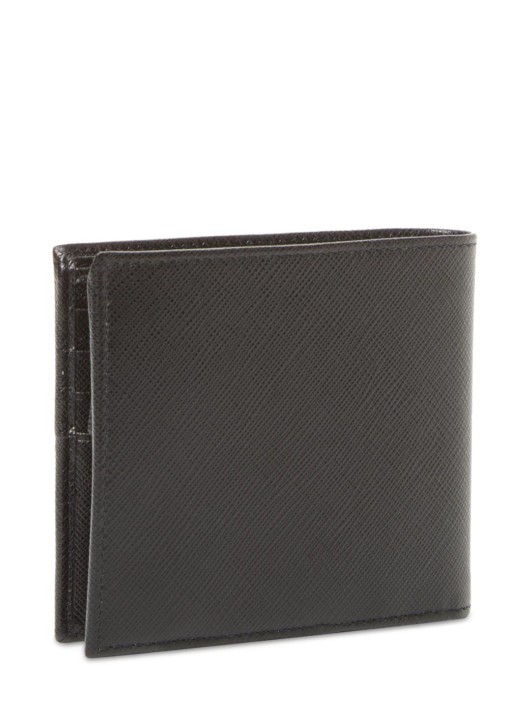 a3bd9593a137 ... inexpensive prada black textured leather bifold wallet for men lyst.  view fullscreen cd607 f1ced