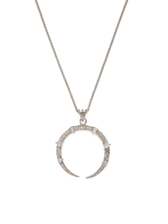 Bavna Chrysoprase & Rainbow Moonstone Necklace diUQuM2OS9