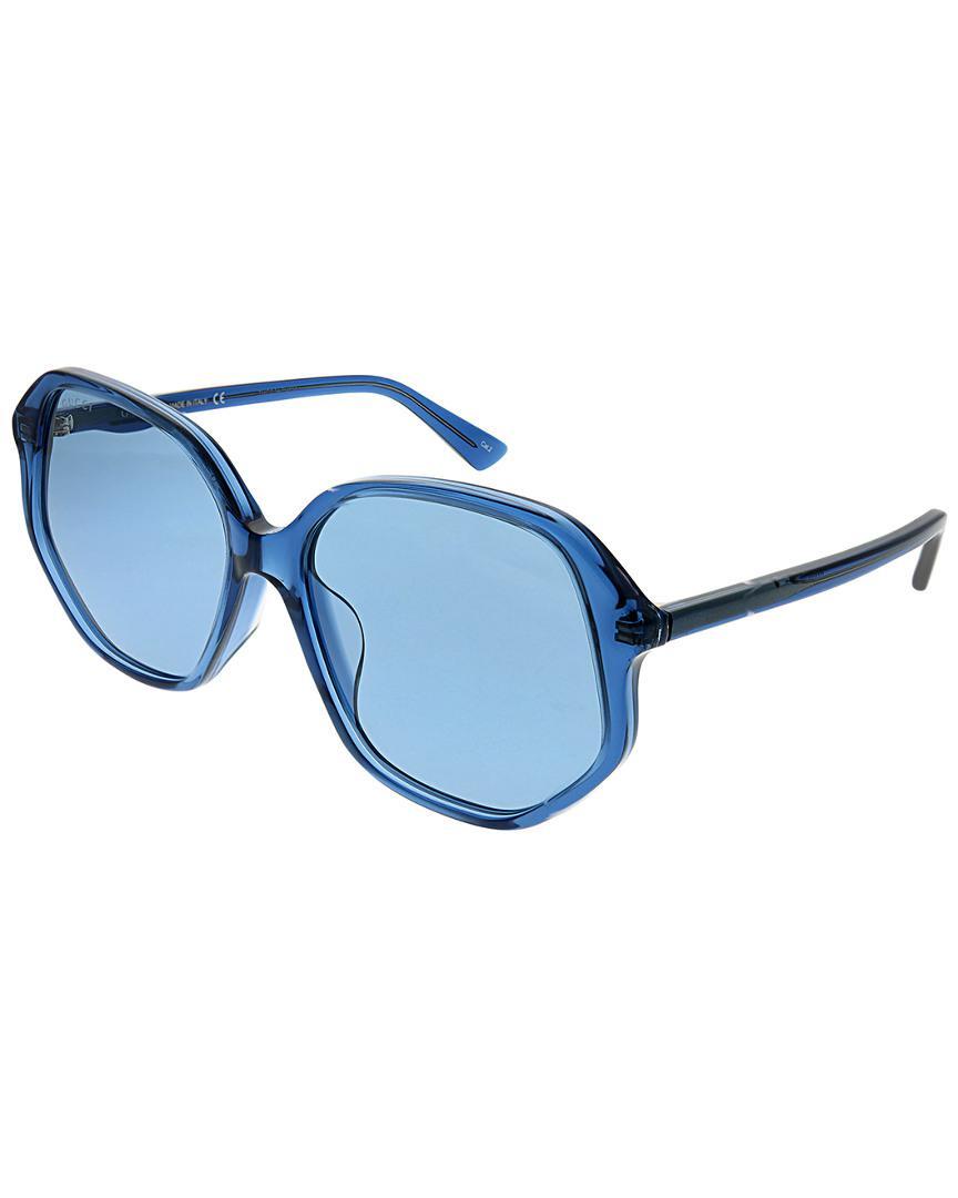 82e55b994182 Lyst - Gucci Rectangular 56mm Sunglasses in Blue - Save ...