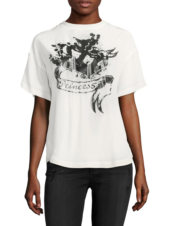 9432b5f458d Lyst - RED Valentino Silk Princess Print Top in White
