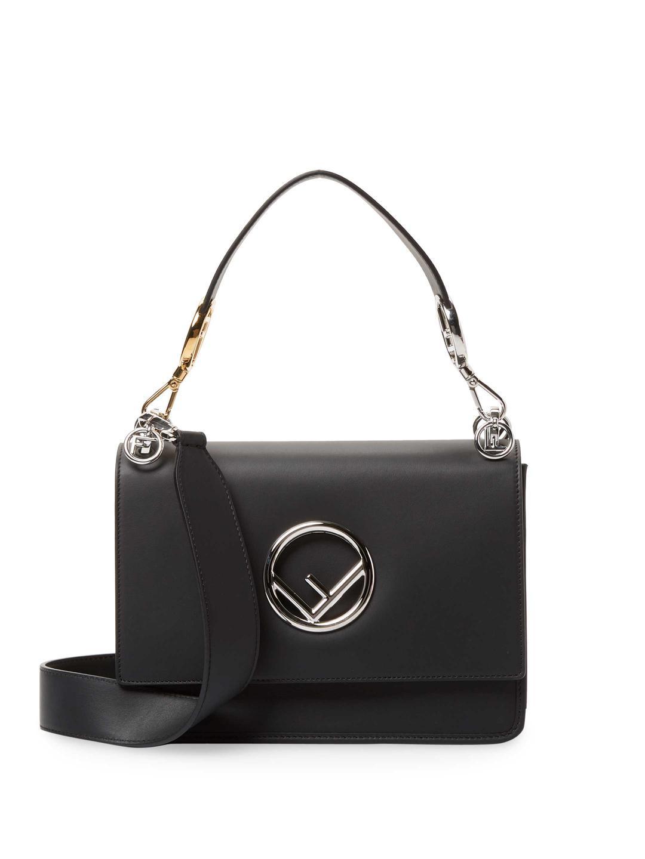 Lyst - Fendi Kan I Logo Leather Shoulder Bag in Black ce9c83e04a30d