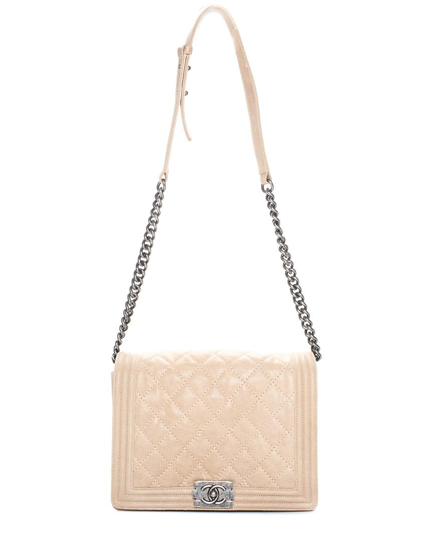 4332db116962 Chanel Quilted Beige Leather Jumbo Flap Bag in Natural - Lyst