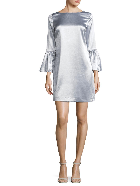 373d49ddc54f7 Armani Exchange Satin Shift Dress in Metallic - Lyst