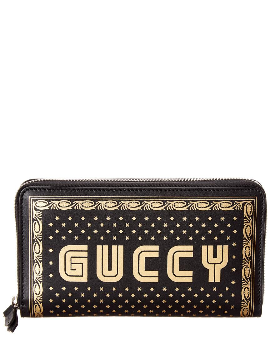 ae87c0136a1 Lyst - Gucci Guccy Leather Zip Around Wallet in Black for Men