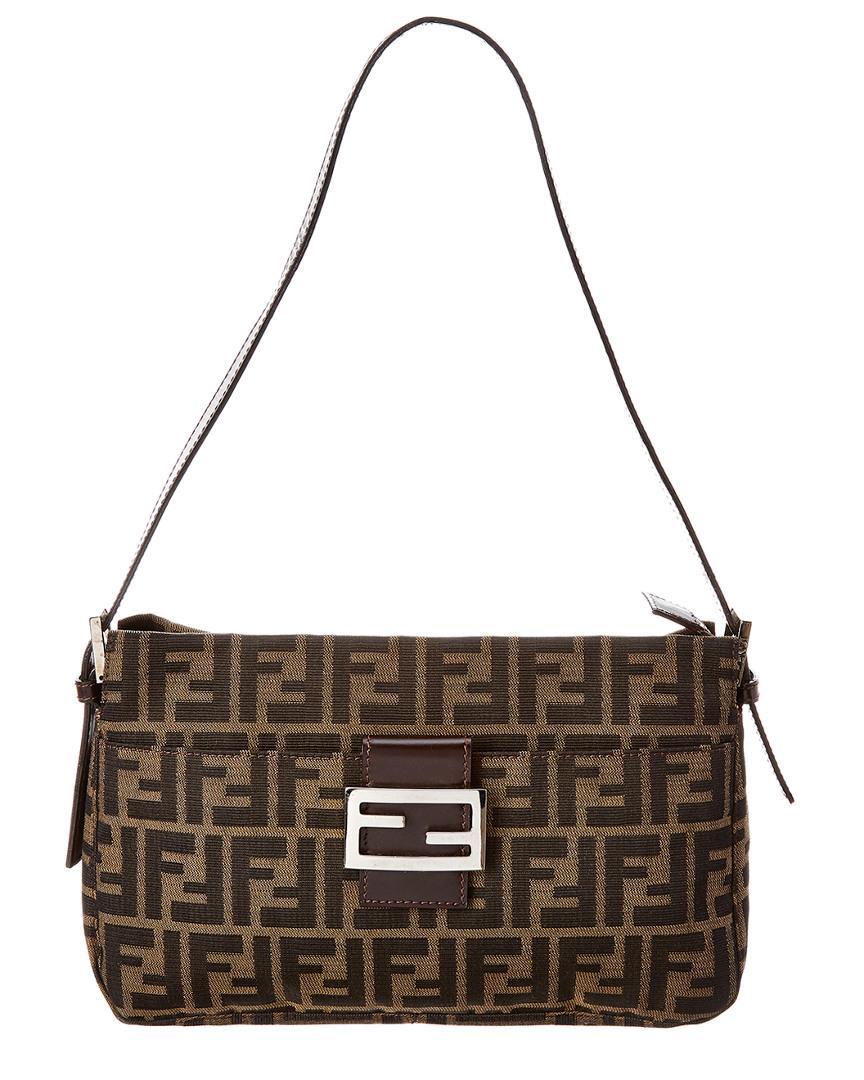 489323a7560a Lyst - Fendi Brown Zucca Canvas Shoulder Bag in Brown