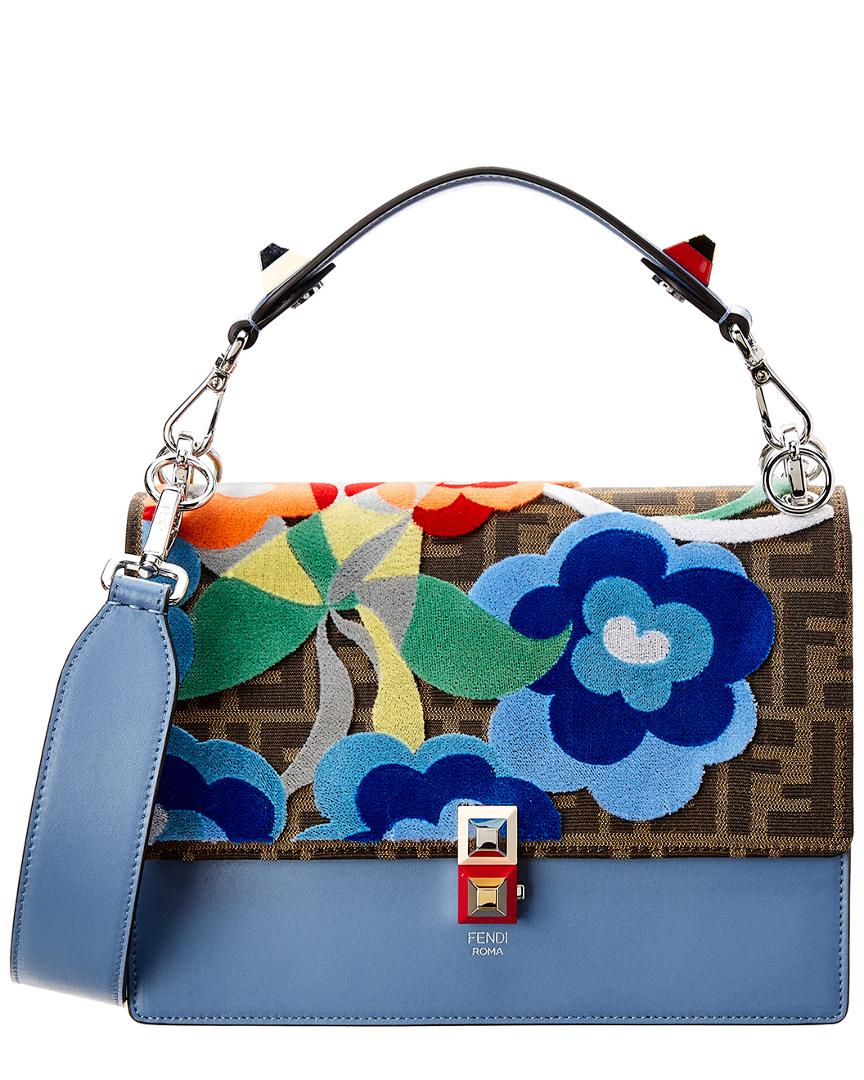a4b66534a221 ... cheap lyst fendi medium kan i leather shoulder bag in blue save 26  74b7e 97b31 czech fendi dotcom ...