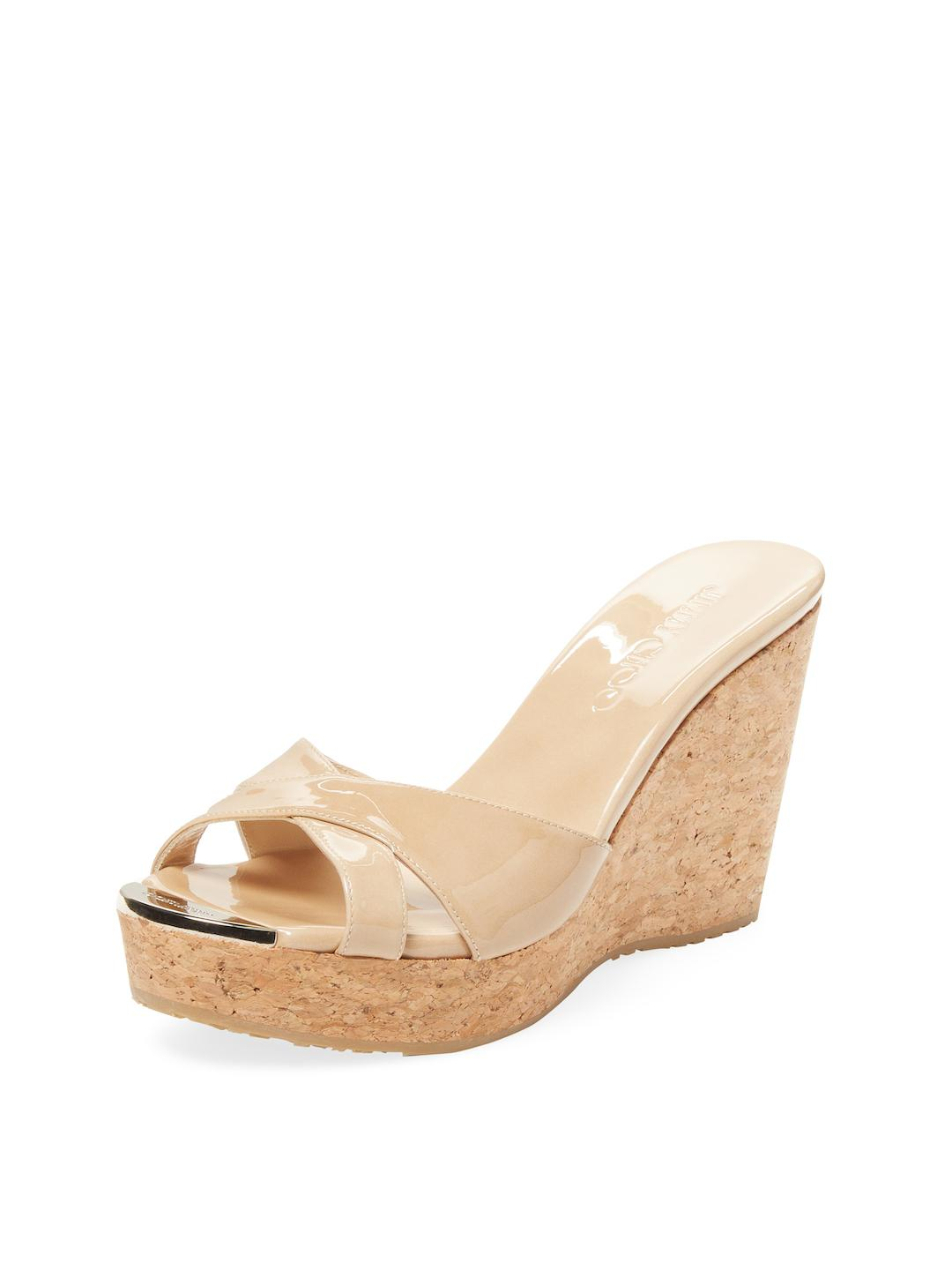 e081b65511f3 Lyst - Jimmy Choo Pandora Patent Leather Wedge in Natural