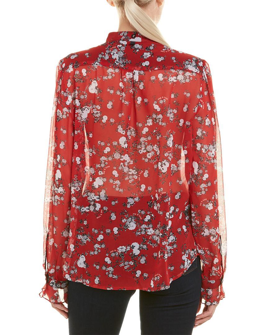 f4f0a3d40853de Lyst - Rag   Bone Susan Silk Blouse in Red