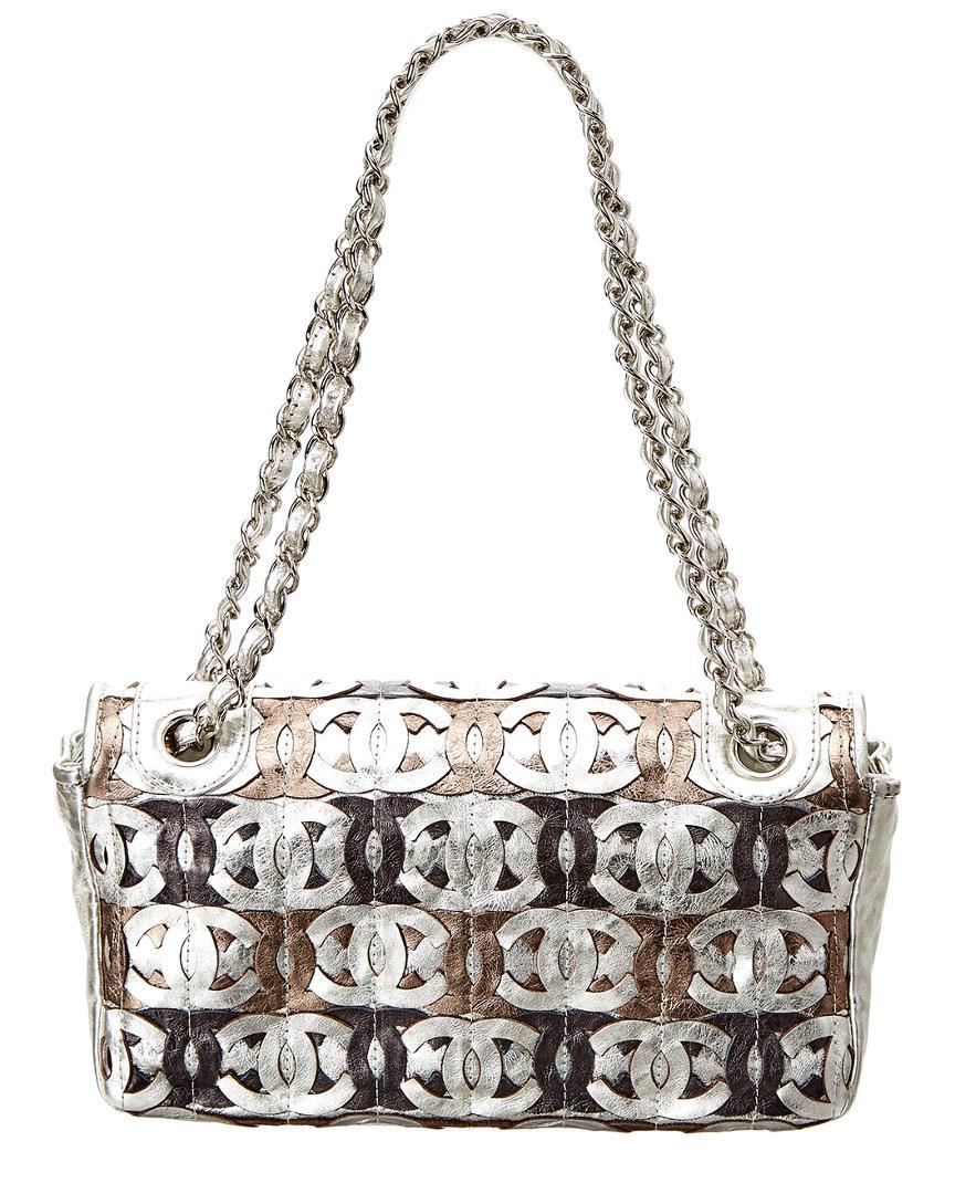 Lyst - Chanel Silver Metallic Leather Cc Cutout Jumbo Flap Bag in Metallic 861d38f48434e