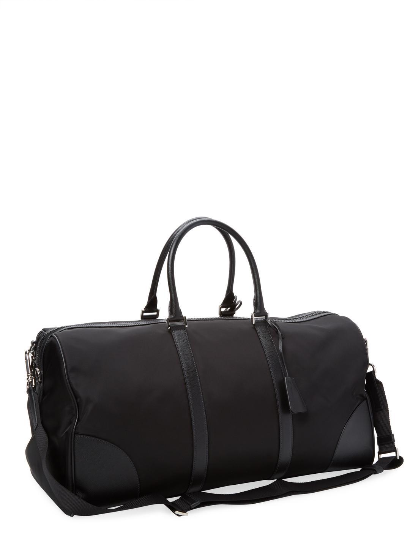 4ac0495e297f Lyst - Prada Tessuto Saffiano Leather Duffel Bag in Black for Men