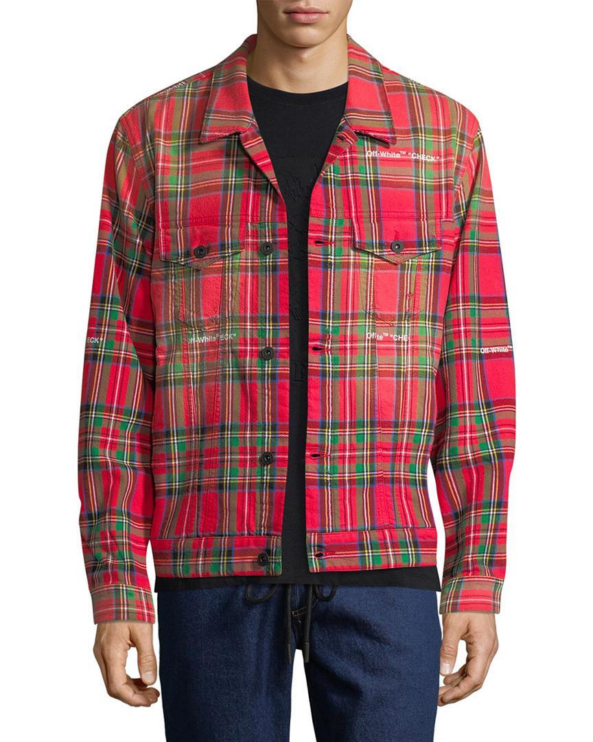 63ea4f8ee928 Off-White c o Virgil Abloh. Men s Red Off-white Tartan Print Trucker Jacket