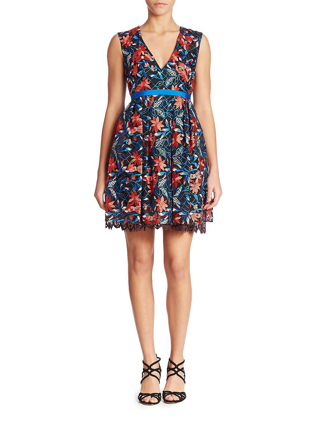 Lyst - Ml Monique Lhuillier Sleeveless Floral Lace Dress in Blue
